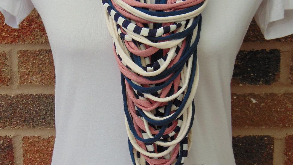 Navy Stripe, Cream & Pink Multi Strand Scarf Necklace