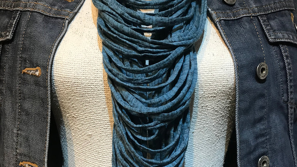 Teal Marl Multi Strand Scarf Necklace