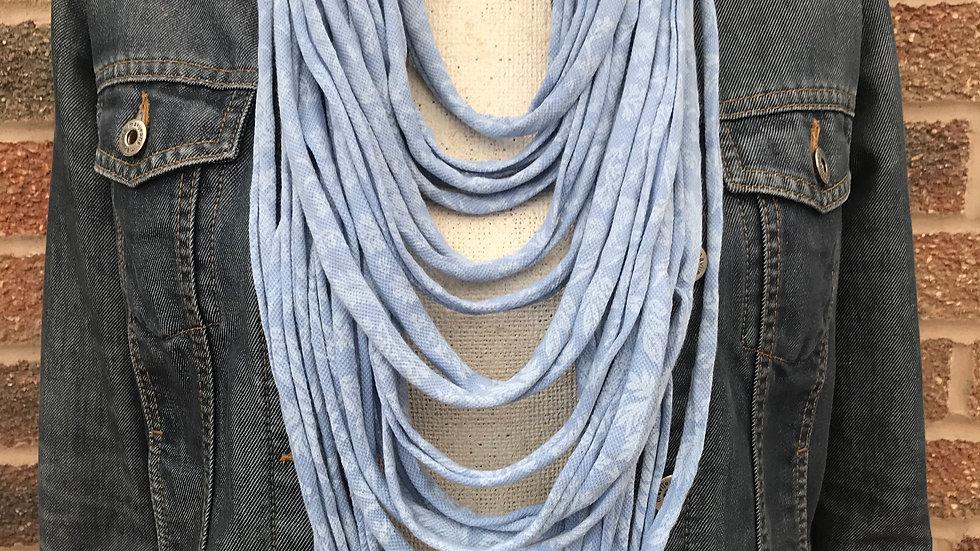 Blue Print Multi Strand Scarf Necklace