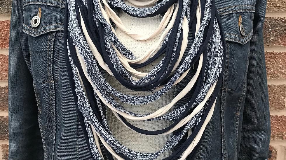 Navy Print and Ecru Multi Strand Scarf Necklace