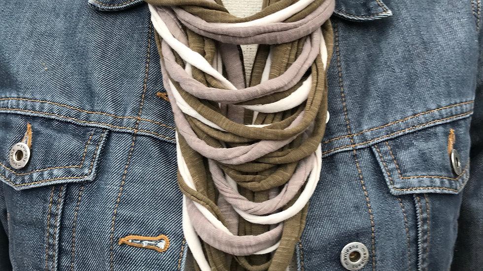 Khaki, Grey & Cream Multi Strand Scarf Necklace