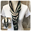 Thumbnail: Teal, Grey & Cream Multi Strand Scarf necklace