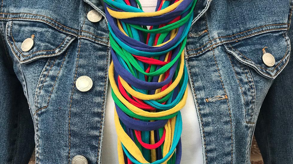 Multi Coloured Strand Scarf Necklace