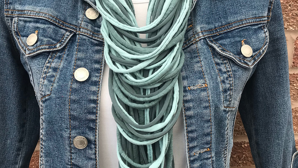 Shades of Teal  Multi Strand Scarf Necklace