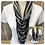 Thumbnail: Shades of Grey & Gingham Multi Strand Scarf necklace