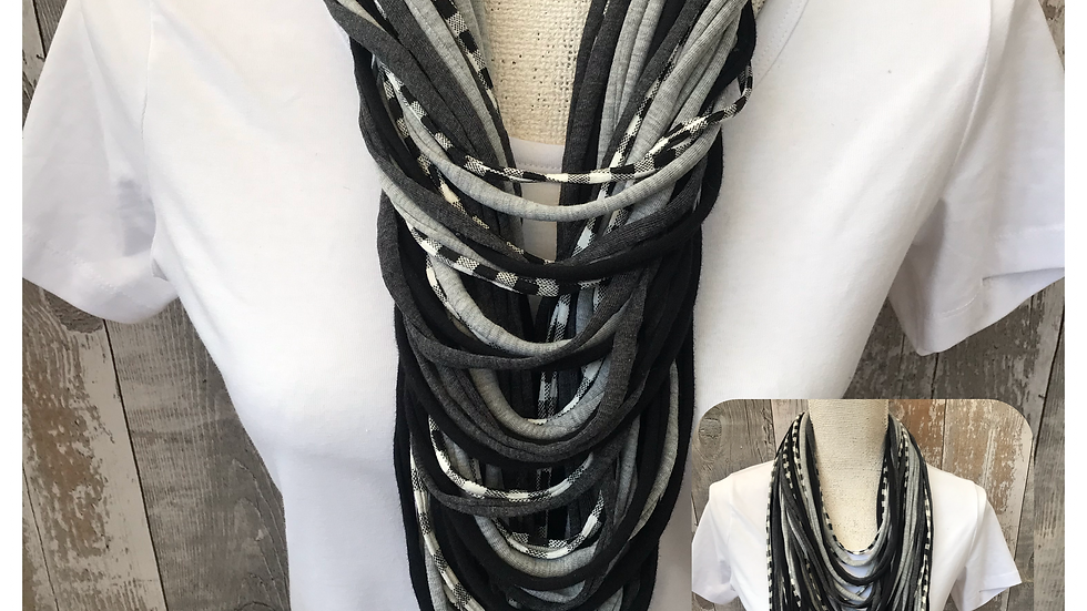 Shades of Grey & Gingham Multi Strand Scarf necklace