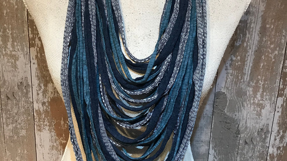 Navy and Teal Multi Strand Scarf Necklace