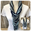 Thumbnail: Navy Print & Pale Blue Multi Strand Scarf necklace