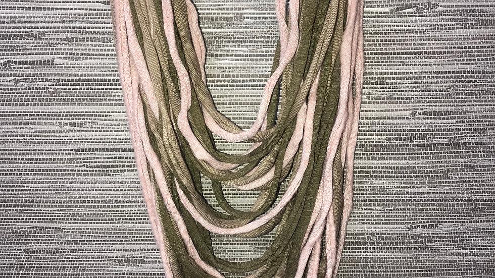 Pale Pink & Khaki Multi Strand Scarf Necklace
