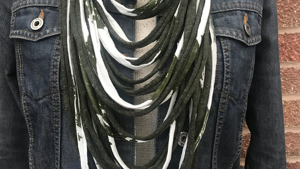 Ecru and Green Leaf Print Multi Strand Scarf Necklace