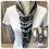 Thumbnail: Navy Stripe & Grey Multi Strand Scarf necklace