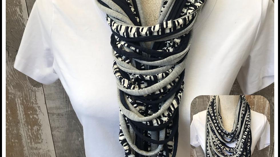 Navy Stripe & Grey Multi Strand Scarf necklace