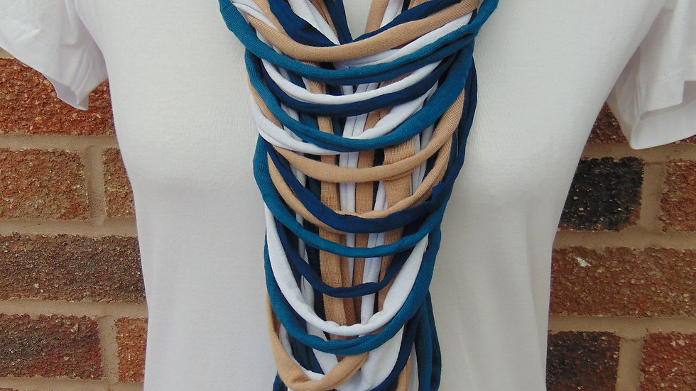 Navy, Teal, White & Beige Multi Strand Scarf Necklace