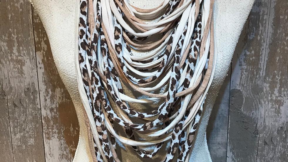 Leopard Print Multi Strand Scarf Necklace