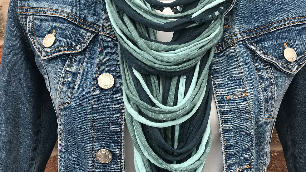 Teal & Green Multi Strand Scarf Necklace