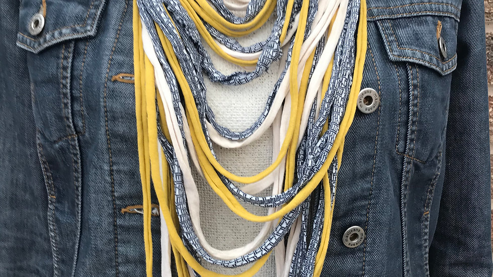 Navy Print, Ecru and Yellow Multi Strand Scarf Necklace