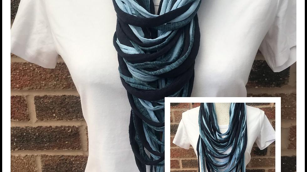 Navy, Teal & Aqua Multi Strand Scarf necklace