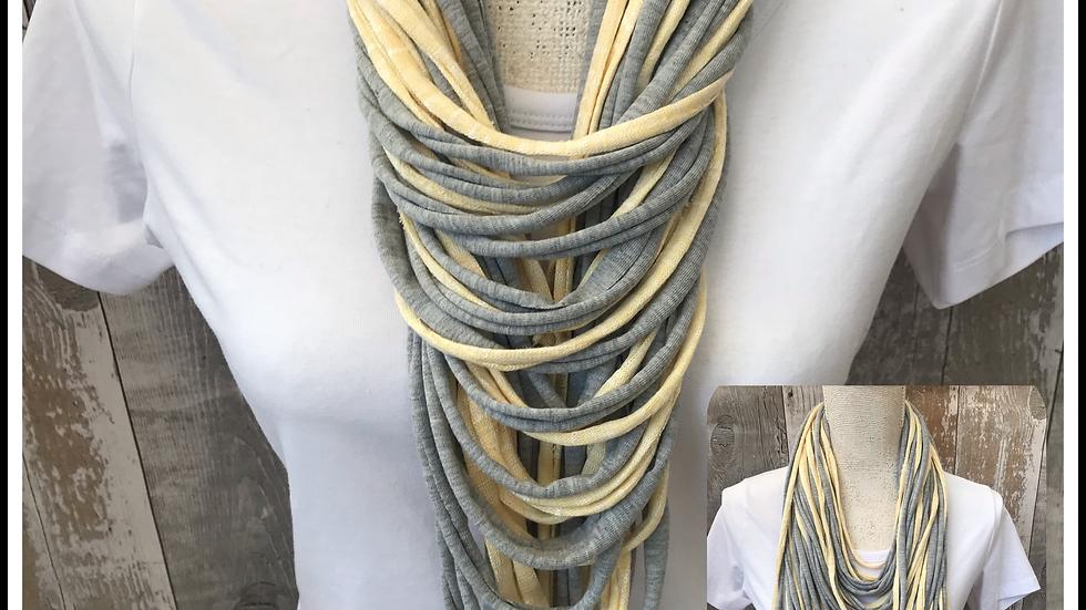 Grey & Lemon Multi Strand Scarf necklace