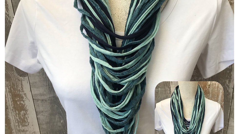 Dark Teal & Mint Multi Strand Scarf necklace