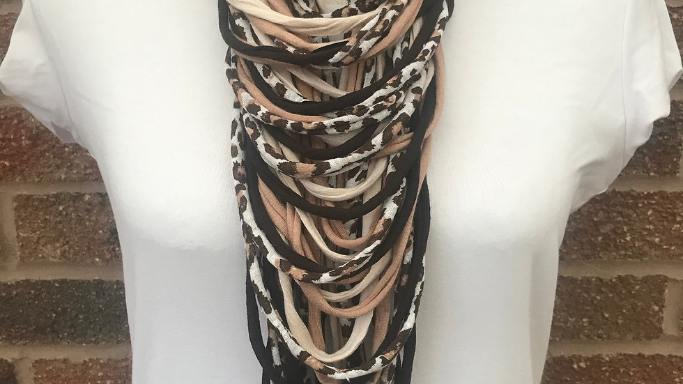 Leopard Print, Cream & Brown Multi Strand Scarf Necklace