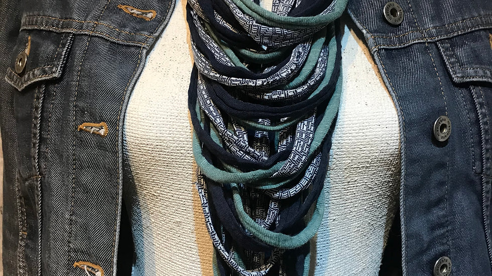 Teal & Navy Print Multi Strand Scarf Necklace