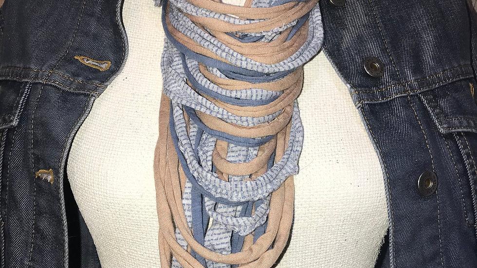 Blush Pink & Pale Blue Multi Strand Scarf Necklace