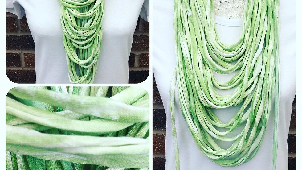 Soft Green & White Dip Dye Multi Strand Scarf necklace