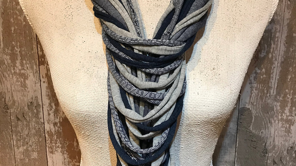 Navy and Grey Multi Strand Scarf Necklace