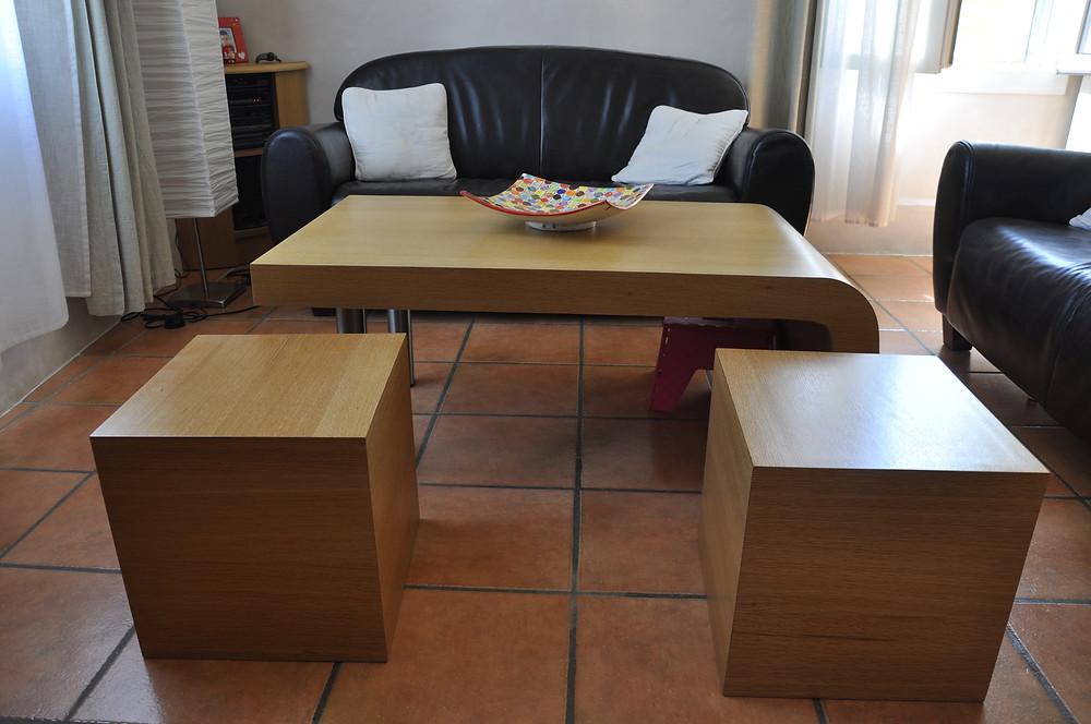 table basse avec ses deux cubes !