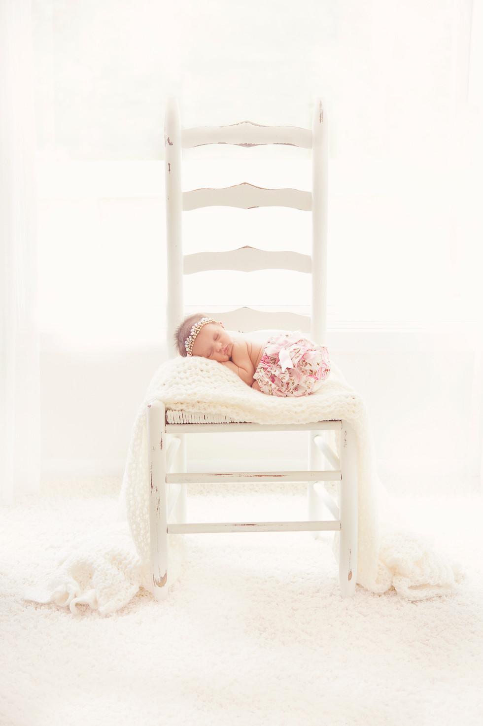 Shabby Chic Newborn on Chair