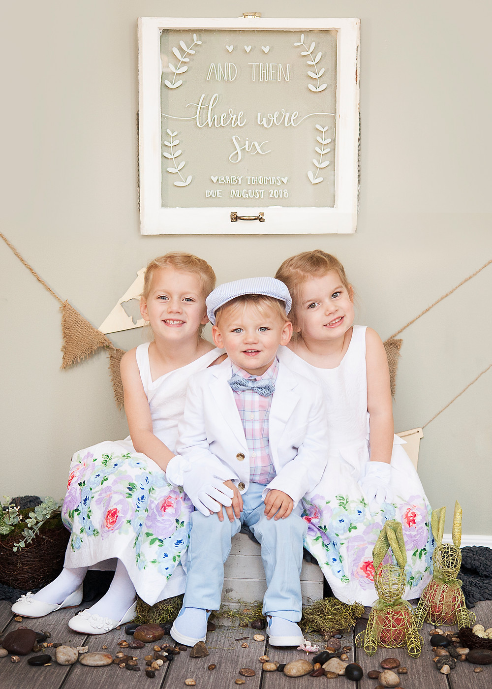 photo of three children taken by Elizabeth Marie Photography in front of a window sign made by Pen Paint and Parchment