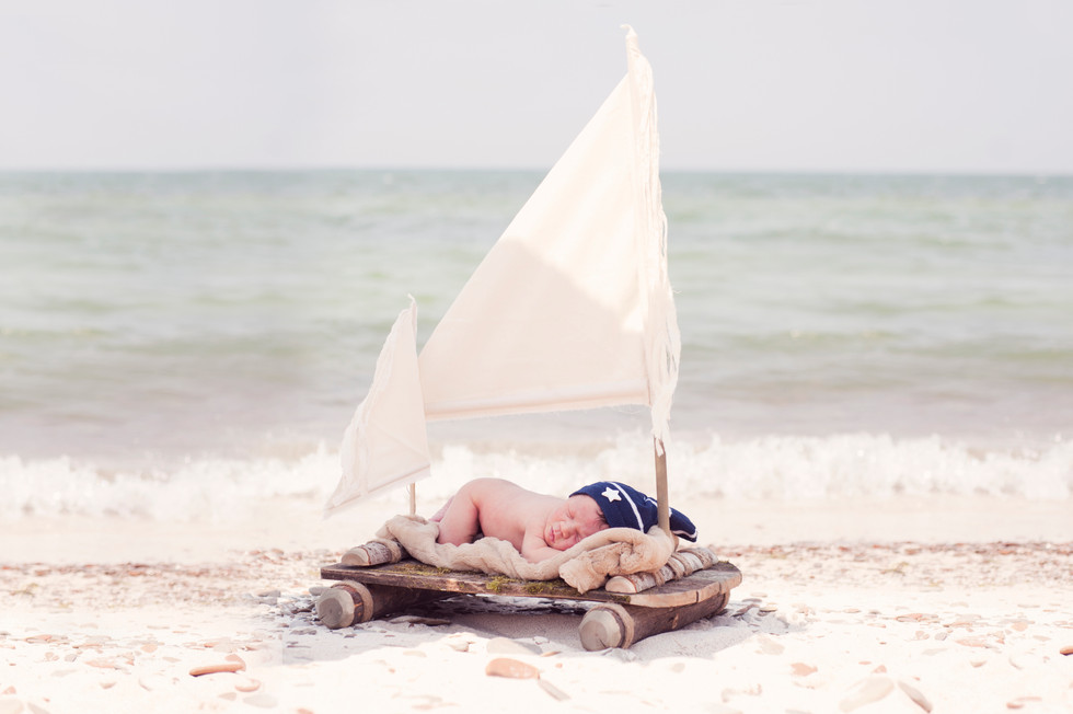 Relaxing on the Ocean Newborn Photography session