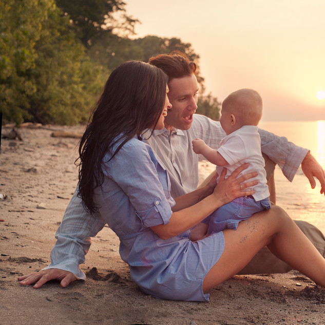 Family Session sunset beach