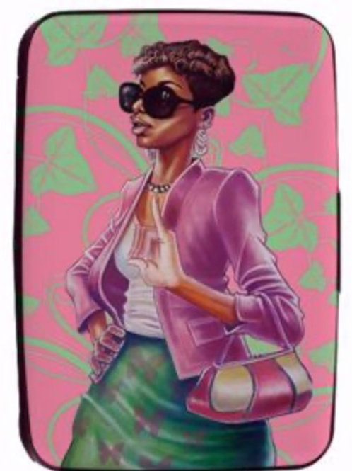 Pink and Green Card Holder