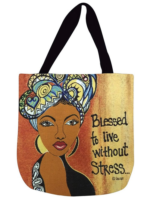 Blessed to Live Without Stress Woven Tote