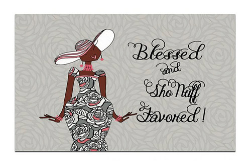 BLESSED AND SHO NUFF FAVORED INTERIOR FLOOR MAT