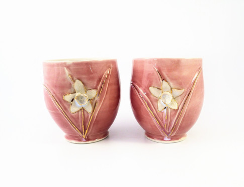Daffodil Cup Set, Porcelain, Cubic Zirconia, Gold Luster, Cone 6, 2018