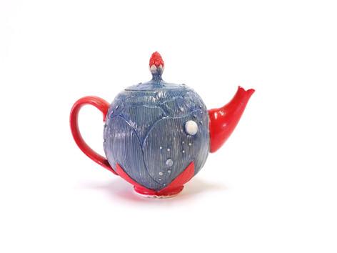 Confiding Love: Fucshia Teapot, Porcelain, Underglaze, Cubic Zirconia, Cone 6, 2019.