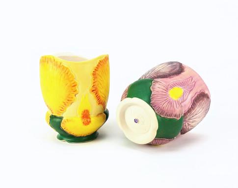 Iris Cups, Porcelain, Underglaze, Cubic Zirconia, Cone 6, 2019.