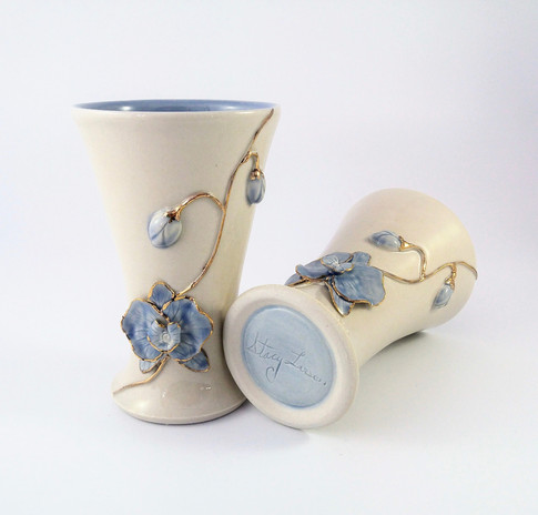 Orchid Tumbler Set, Porcelain, Cubic Zirconia Gold Luster, Cone 6, 2018