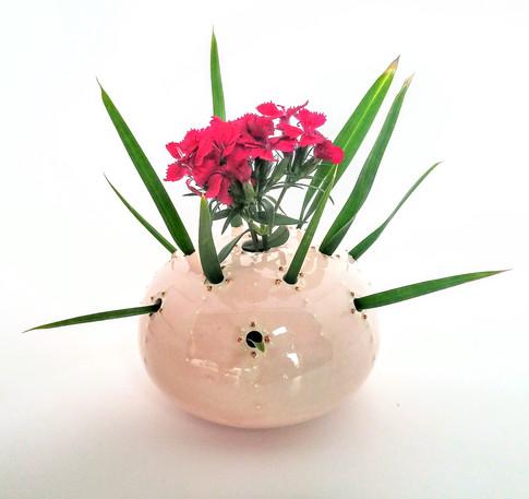 Flower Brick, Porcelain, Gold Luster, Cone 6, 2017