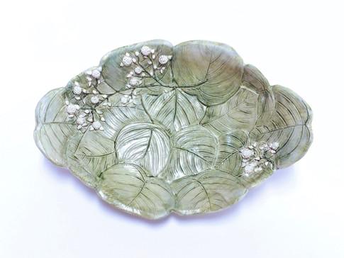 Eucalyptus & Baby's Breath Platter, Porcelain, Underglaze, Cubic Zirconia, Cone 6, 2019.