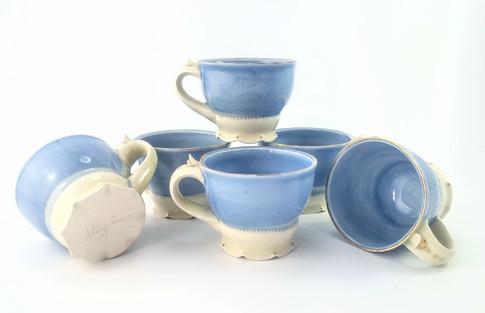 Teacups, Porcelain, Gold Luster, Cone 6, 2018