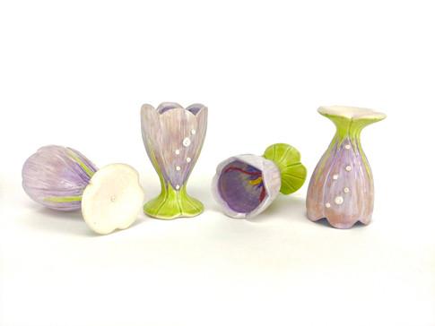 Mirth: Fernet Branca Shot Glasses (Saffron Crocus), Porcelain, Underglaze, Man-made Stones, Cone 6, 2019.
