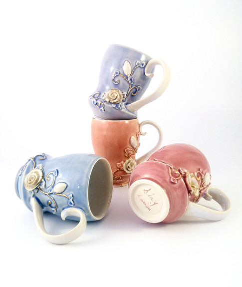 Rose Mug Set, Porcelain, Cubic Zirconia, Gold Luster, Cone 6, 2018