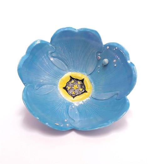 Remembrance: Forget me Not Bowl, Porcelain, Underglaze, Cubic Zirconia, Cone 6, 2019.