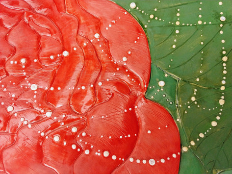 Peony with Dew Drop Web Platter, Porcelain, Underglaze, Cubic Zirconia, Cone 6, 2019.