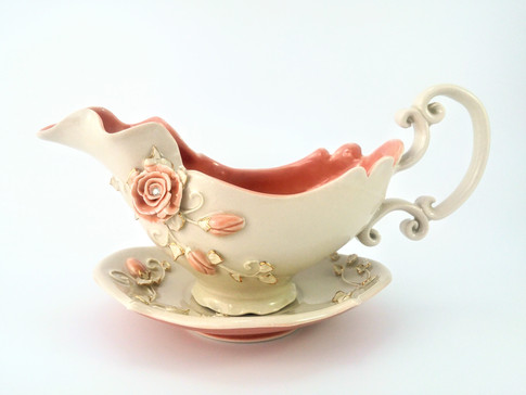 Gravy Boat & Saucer, Porcelain, Gold Luster, Cubic Zirconia, Cone 6, 2018