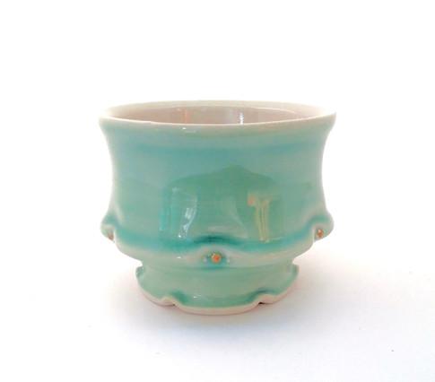 Teabowl, Porcelain, Gold Luster, Cone 6, 2017