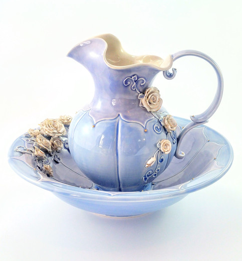 Water Pitcher & Bowl, Porcelain, Gold Luster, Cubic Zirconia, Cone 6, 2018